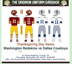 cowboys thanksgiving the gridiron uniform database a head to head history washington