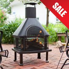 Wood Firepits Outdoor Patio Fireplace Wood Burning Pit Chiminea Deck