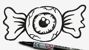 how to draw a cartoon halloween eyeball candy easy doodle for