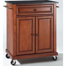 cherry kitchen island cart crosley furniture kf30024ech solid black granite top portable