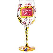 birthday artisan painted wine glass gift