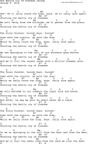 6 Flags Song Song Lyrics With Guitar Chords For The Battle Cry Of Freedom