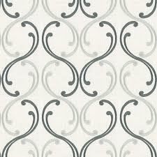 Black And White Drapery Fabric Aqua Embroidered Scroll Chain Fabric Traditional Drapery