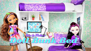 how to make a doll bunk bed plus desk doll crafts youtube