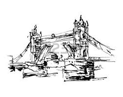 black and white ink sketch drawing of famous place tower bridge