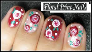 romantic flower nails tutorial rose floral print nail art design