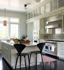 Kitchen Cabinet Rails White And Gray Kitchen With White Ladder On Rails Transitional
