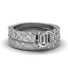 womens wedding ring sets vintage emerald cut solitaire diamond wedding set in 950 platinum
