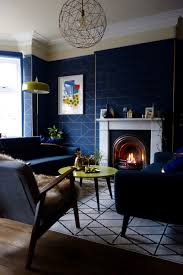 mad about your house navy blue and gold wallpaper set off this pendant light perfectly image by karen knox