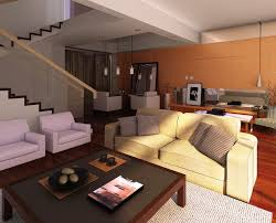 Living Room With Stairs by Living Dining Room With Orange Wall And Stairs Download 3d House