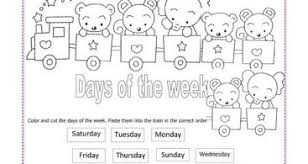 days of the week kindergarten worksheets kelpies