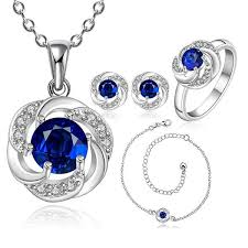 sapphire necklace set images New elegant 925 sterling silver sapphire flower necklace earrings jpg