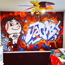 kids murals intelligent graffiti mural work for a child s bedroom