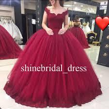 burgundy quince dresses vintage the shoulder prom wedding gowns burgundy