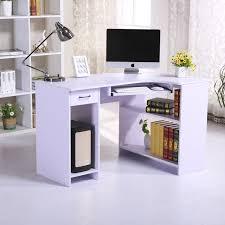 homcom pc corner desk w118xd77xh76 cm lilac aosom co uk