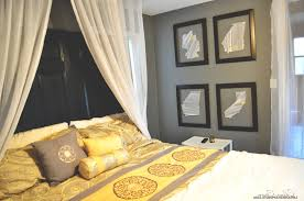 Dark Blue Accent Wall gray and yellow master bedroom glossy white wooden ikea wardrobe