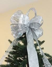 amazon com white u0026 silver glittered christmas tree topper bow