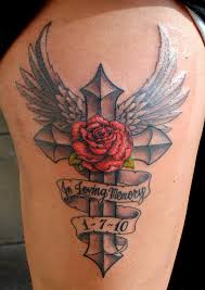 3d stone cross and grey rose tattoos photo 3 photo pictures