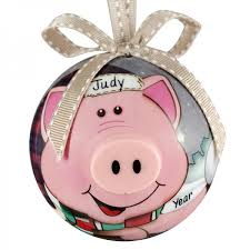 pig blinking lights non breakable ornament personalized