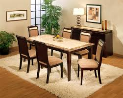 Granite Top Dining Table Set - cool granite dining table set rectangular with white fur rug for