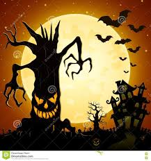 Scary Monsters For Halloween Halloween Background Scary Monsters Trees On Cemetery With Castle