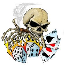skull with card and dice tat from itattooz