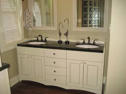White Wooden Bathroom Furniture White Wooden Bathroom Vanity With Black Granite Top On The Floor