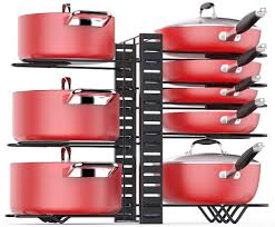 kitchen cabinet organizer shelf small pan organizer rack for cabinet pot rack with 3 diy methods adjustable pots and pans organizer cabinet with 8 tiers large small pot
