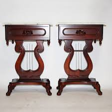 victorian style side table victorian style marble top lyre side tables by kimball ebth