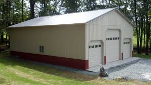 modern white off exterior wall of the pole barn garage kits with