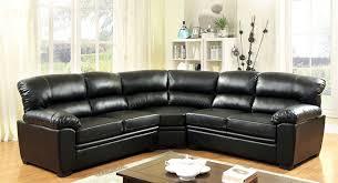 Black Sofa Sectional Oliver Modern Black Plush Leatherette Sectional