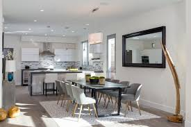 Modern Dining Room With High Ceiling  Carpet In Venice CA - West elm dining room chairs