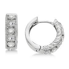 diamond huggie earrings princess cut diamond huggie earrings 14k white gold 0 50ct