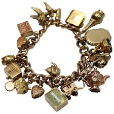fine charm bracelet images Fine vintage rose gold charm bracelet for sale at 1stdibs jpg