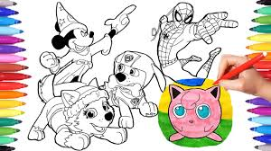 cartoon characters coloring book page 5 mickey mouse jigglypuff