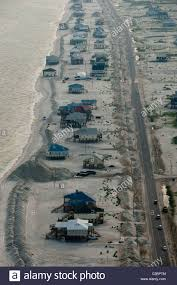 berm houses sand berms frame rows of beach houses on dauphin island stock