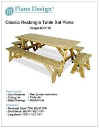 Bench Construction Plans Classic Rectangle Picnic Table W Benches Woodworking Plans