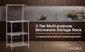 Amazon Com Langria Living Storage by Amazon Com Langria 3 Tier Microwave Stand Storage Rack Kitchen