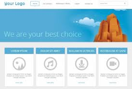 blue web template in flat design psd file free download