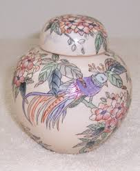 ginger jar triple a resale toyo tan floral birds covered ginger jar