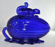 Dark Blue Glass Vase 1930 U0027s Louie Glass Harpo Cobalt Royal Blue Glass Vase Clear