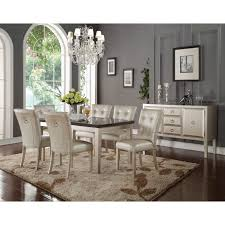 voeville dining table in bluestone and platinum by acme furniture