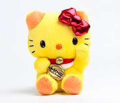 hello kitty mascot plush yellow lucky cat hello kitty
