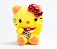 hello kitty mascot plush yellow lucky cat hello kitty