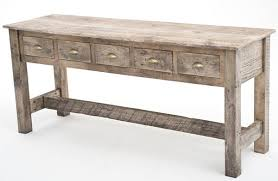 Wood Sofa Table Reclaimed Wood Sofa Table 5 Drawer Painted Gray Woodland Creek