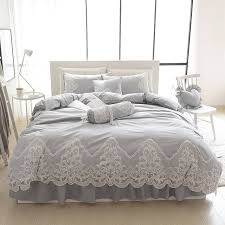 King Size Duvet Bedding Sets Grey Pink Blue Purple Cotton Lace Bedding Set King Size