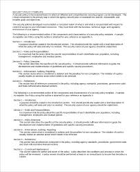 Security Procedures Template security policy sle 8 exles in word pdf