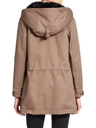 the kooples classic fur lined parka in natural lyst