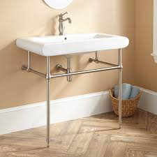 denisa porcelain console sink with brass stand bathroom sinks