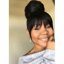pinup clip in ponytail with bangs high bun with bang black hairstyles pinterest high bun bangs